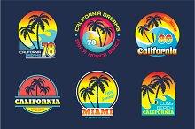 California & Miami - Vector Badges
