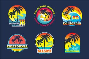 California & Miami - Vector Badges