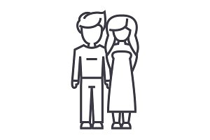 young couple in love vector line icon, sign, illustration on background, editable strokes