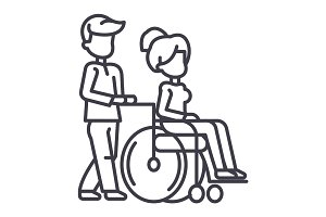 young man strolling with young woman in wheelchair,nursing care for disabled people vector line icon, sign, illustration on background, editable strokes