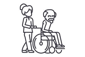 young woman, social worker, strolling with elder man in wheelchair vector line icon, sign, illustration on background, editable strokes