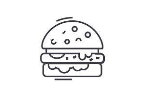 cheese burger vector line icon, sign, illustration on background, editable strokes