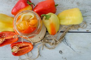 Bell pepper preserved in a glass jar