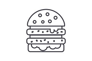 cheeseburger vector line icon, sign, illustration on background, editable strokes