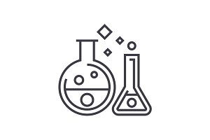 chemistry lab,experiments vector line icon, sign, illustration on background, editable strokes