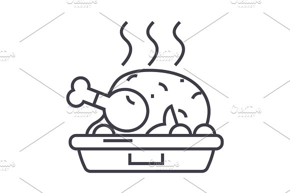 Chicken Dish Grilled Roast Vector Line Icon Sign Illustration On Background Editable Strokes