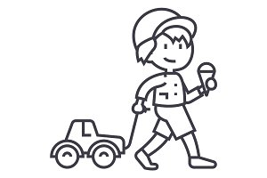 child with ice cream and car toy on rope  vector line icon, sign, illustration on background, editable strokes