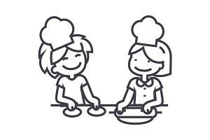 children cooking vector line icon, sign, illustration on background, editable strokes