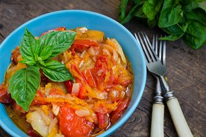 Italian peperonata: roasted bell pepper