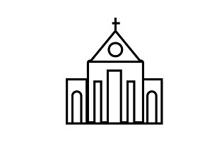 church vector line icon, sign, illustration on background, editable strokes