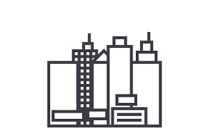 city,new town  vector line icon, sign, illustration on background, editable strokes