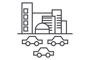 city,traffic, cars vector line icon, sign, illustration on background, editable strokes