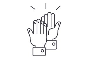 clapping hands  vector line icon, sign, illustration on background, editable strokes