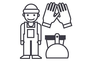 cleaning service,cleaning man, gloves, scoop, bucket vector line icon, sign, illustration on background, editable strokes