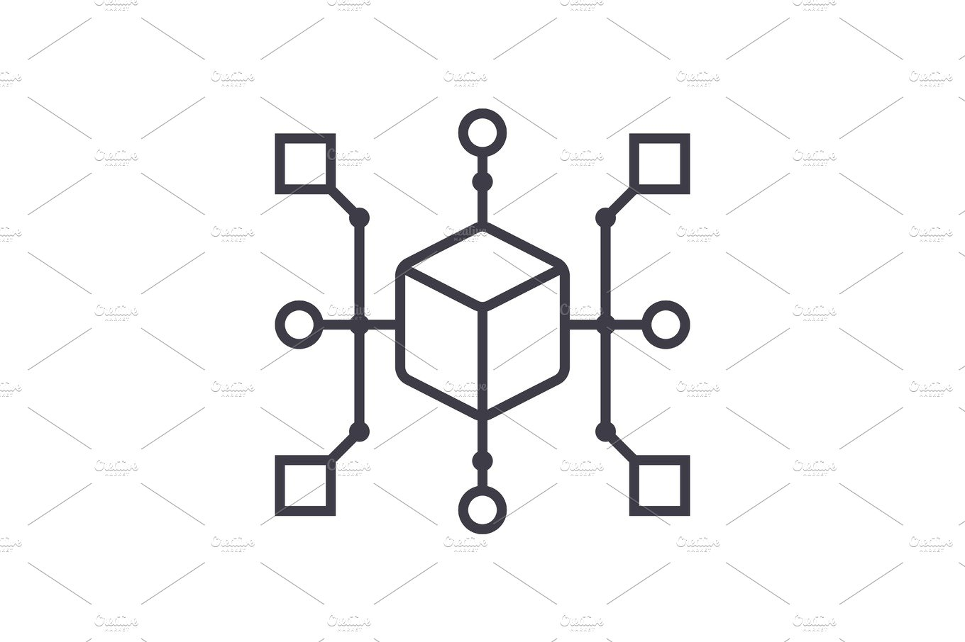 cluster diagram vector line icon, sign, illustration on