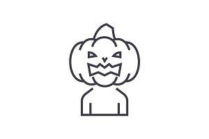 horror pumpkin  vector line icon, sign, illustration on background, editable strokes