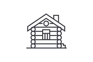 house,cabin,wood house vector line icon, sign, illustration on background, editable strokes