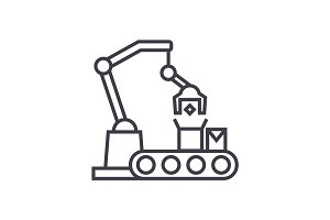 industrial robot sign vector line icon, sign, illustration on background, editable strokes