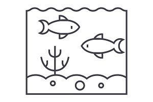 inside sea  vector line icon, sign, illustration on background, editable strokes