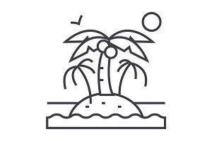 island with palms vector line icon, sign, illustration on background, editable strokes