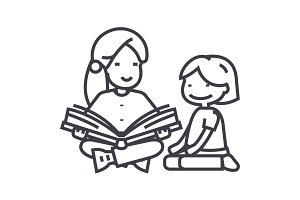 kindergarten teacher,woman reading book to girl vector line icon, sign, illustration on background, editable strokes