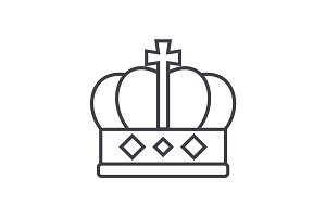 king crown  vector line icon, sign, illustration on background, editable strokes