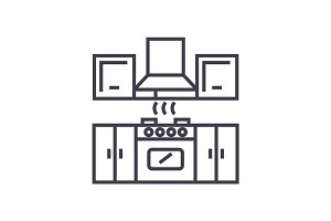 kitchen furniture   vector line icon, sign, illustration on background, editable strokes
