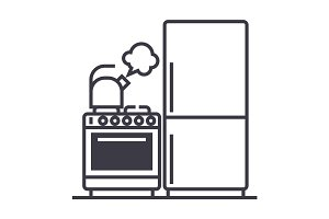 kitchen,refrigerator, stove, kettle vector line icon, sign, illustration on background, editable strokes