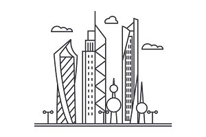 kuwait city vector line icon, sign, illustration on background, editable strokes