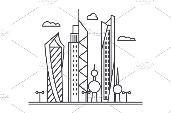 Kuwait City Vector Line Icon Sign Illustration On Background Editable Strokes