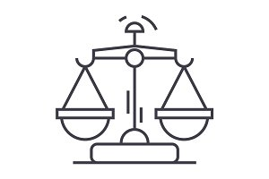 law and justice vector line icon, sign, illustration on background, editable strokes