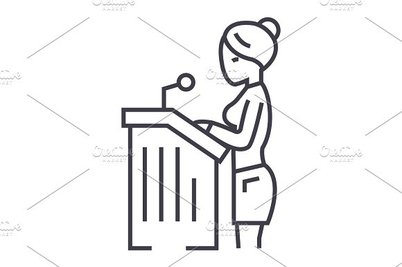 Lawyer Woman Speech In Court Vector Line Icon Sign Illustration On Background Editable Strokes