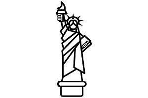 liberty statue, new york vector line icon, sign, illustration on background, editable strokes
