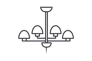 light lamp, ceiling bra vector line icon, sign, illustration on background, editable strokes