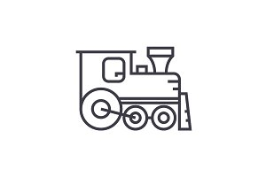 locomotive vector line icon, sign, illustration on background, editable strokes