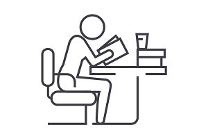 man studying,reading book in library vector line icon, sign, illustration on background, editable strokes