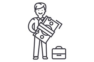 man with big money and suitcase vector line icon, sign, illustration on background, editable strokes