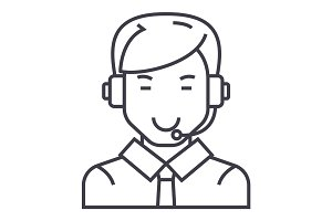 man with headset vector line icon, sign, illustration on background, editable strokes