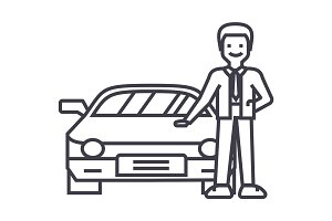 man with new car,auto dealership,buying a vehicle vector line icon, sign, illustration on background, editable strokes