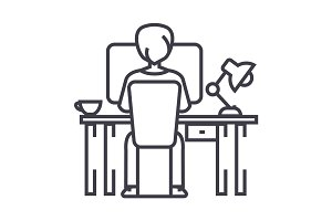 man working on computer on table, sitting back vector line icon, sign, illustration on background, editable strokes