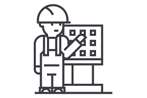 master,foreman,engineer with machine tool vector line icon, sign, illustration on background, editable strokes