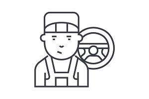 mechanic vector line icon, sign, illustration on background, editable strokes