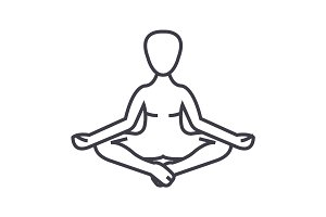 meditation, yoga posture,lotus vector line icon, sign, illustration on background, editable strokes