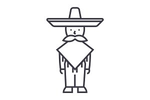 mexican man,mariachi vector line icon, sign, illustration on background, editable strokes