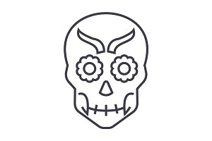 mexican skull vector line icon, sign, illustration on background, editable strokes