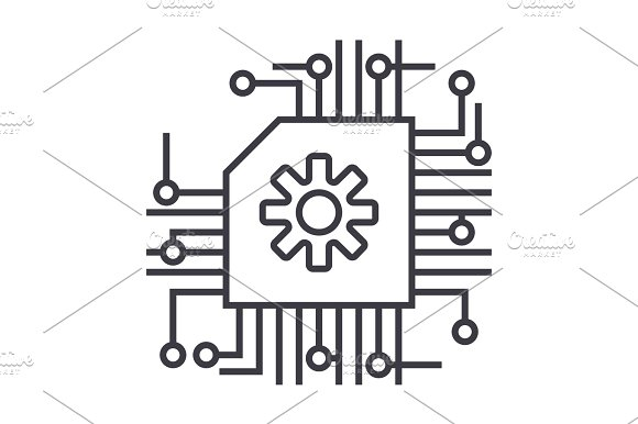 scheme,ai,artificial intelligence vector line icon, sign, illustration on background, editable strokes