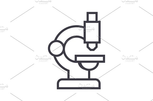 microscope vector line icon, sign, illustration on background, editable strokes