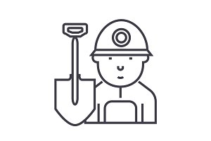 miner,worker vector line icon, sign, illustration on background, editable strokes
