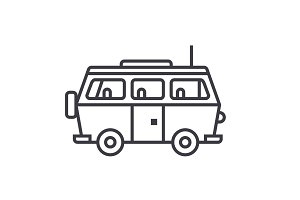 minivan travel,family car vector line icon, sign, illustration on background, editable strokes