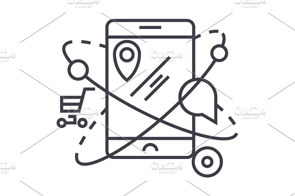 mobile navigation,commerce ,location vector line icon, sign, illustration on background, editable strokes